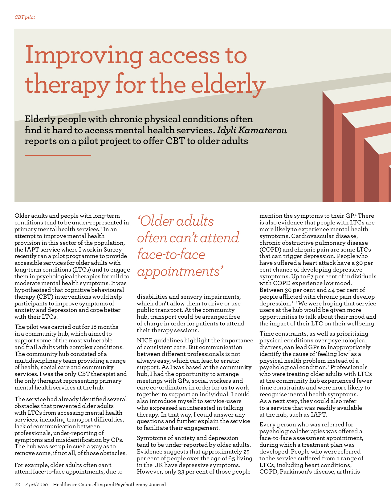 BACP article older adults CBT therapy long-term conditions